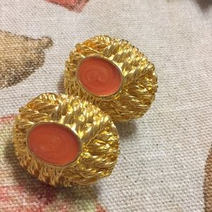 Orange Gold Tone Clip Earrings